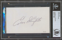 Cardinals Enos Slaughter Authentic Signed 3x5 Index Card Autographed BAS Slabbed