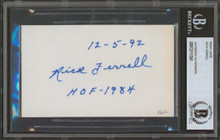 Red Sox Rick Ferrell 12-5-92 HOF - 1984 Authentic Signed 3x5 Index Card BAS Slab