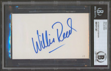 Knicks Willis Reed Authentic Signed 3x5 Index Card Autographed BAS Slabbed