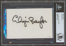 Lakers Elgin Baylor Authentic Signed 3x5 Index Card Autographed BAS Slabbed