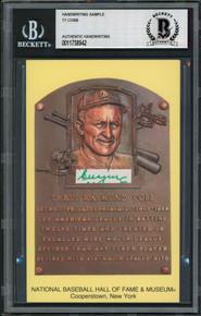 Tigers Ty Cobb Writing Sample 3.5x5.5 HOF Plaque Postcard BAS Slabbed 10