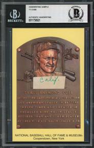 Tigers Ty Cobb Writing Sample 3.5x5.5 HOF Plaque Postcard BAS Slabbed 20