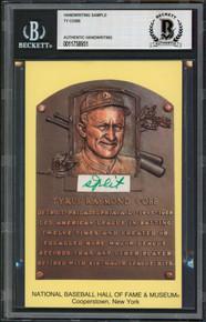 Tigers Ty Cobb Writing Sample 3.5x5.5 HOF Plaque Postcard BAS Slabbed 5