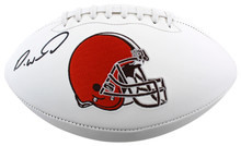 Browns Denzel Ward Authentic Signed White Panel Logo Football BAS Witnessed