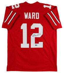 OSU Denzel Ward Authentic Signed Red Pro Style Jersey Autographed BAS Witnessed
