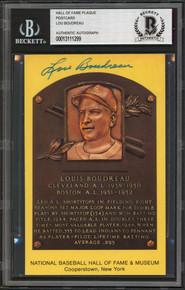 Indians Lou Boudreau Authentic Signed 3.5x5.5 Postcard Autographed BAS Slabbed