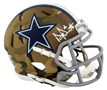 Cowboys Dak Prescott Authentic Signed Camo Speed Mini Helmet BAS Witnessed