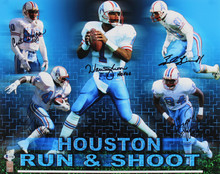 Oilers Run & Shoot Moon, Givens, Jeffires, White, Duncan Signed 16x20 Photo BAS