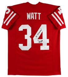 """Derek Watt """"On Wisconsin!"""" Authentic Signed Red Pro Style Jersey JSA Witness"""