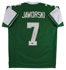 Ron Jaworski Authentic Signed Green Pro Style Jersey Autographed BAS Witnessed