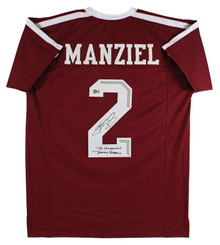 """Texas A&M Johnny Manziel """"2 Insc"""" Signed Maroon Pro Style Jersey BAS Witnessed"""