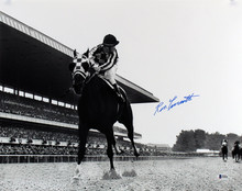 Ron Turcotte Authentic Signed 16x20 B&W Belmont Stakes Photo BAS #F69555