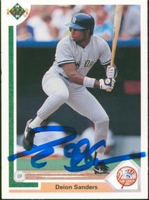 Yankees Deion Sanders Signed 1991 Upper Deck #352 Card BAS Witnessed #WP68535