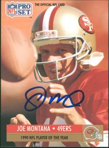 49ers Joe Montana Authentic Signed 1991 Pro Set #3 Card Autographed BAS #BB84985