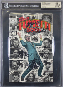 (4) Stan Lee, Claremont, Byrne, Shooter Signed The Marvel Fumetti Comic BAS Slab