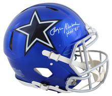 "Cowboys Roger Staubach ""HOF 85"" Signed Flash Full Size Speed Proline Helmet BAS"