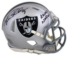 Raiders Shane Lechler Raider Nation Signed Silver Speed Mini Helmet BAS Witness