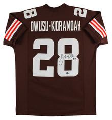 Jeremiah Owusu-Koramoah Signed Brown Pro Style Jersey w/ White #'s BAS Witnessed