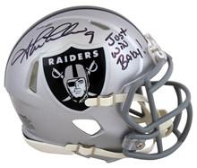 Raiders Shane Lechler Just Win Baby Signed Silver Speed Mini Helmet BAS Witness