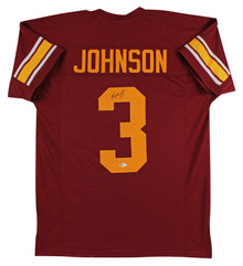 USC Keyshawn Johnson Authentic Signed Red Pro Style Jersey BAS Witnessed