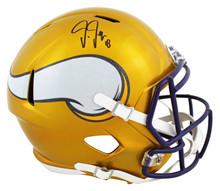 Vikings Justin Jefferson Signed Flash Full Size Speed Rep Helmet BAS Witnessed