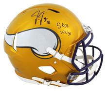 "Vikings Justin Jefferson ""SKOL"" Signed Flash Full Size Speed Proline Helmet BAS"