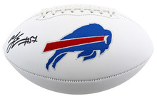 Bills A.J. Epenesa Authentic Signed White Panel Logo Football BAS Witnessed