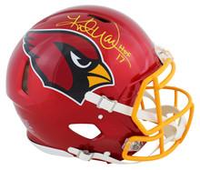 "Cardinals Kurt Warner ""HOF 17"" Signed Flash Full Size Speed Proline Helmet BAS W"
