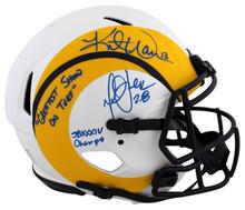 Rams Kurt Warner & Marshall Faulk Signed Lunar F/S Speed Proline Helmet BAS Wit