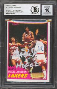 "Lakers Magic Johnson ""HOF 02"" Signed 1981 Topps #21 Card Auto 10! BAS Slabbed 1"