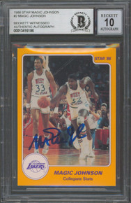 Lakers Magic Johnson Authentic Signed 1986 Star MJ #2 Card Auto 10! BAS Slabbed
