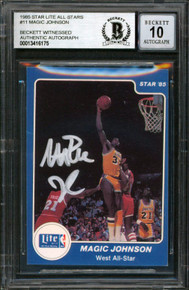 Lakers Magic Johnson Signed 1985 Star Lite All-Stars #11 Card Auto 10! BAS Slab