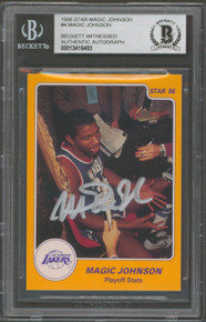 Lakers Magic Johnson Authentic Signed 1986 Star MJ #4 Card BAS Slabbed