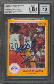 Lakers Magic Johnson Signed 1986 Star MJ #6 Card Auto Graded 10! BAS Slabbed