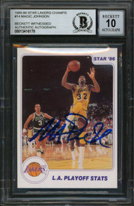Lakers Magic Johnson Signed 1985 Star Lakers Champs #14 Card Auto 10 BAS Slabbed
