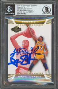 Magic Johnson & Byron Scott Signed 2007 Topps Co-Sign Gold Red #32 Card BAS Slab
