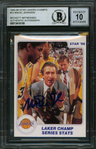 Lakers Magic Johnson Signed 1985 Star Lakers Champs #12 Card Auto 10 BAS Slabbed