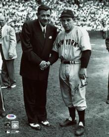 Yankees Yogi Berra Signed Authentic 11X14 Photo W/ Babe Ruth PSA/DNA