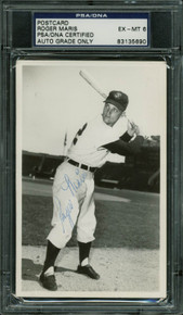 Yankees Roger Maris Authentic Rookie Signed 1957 3.5x5.5 Postcard PSA Slabbed