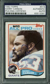 Giants Harry Carson Authentic Signed Card 1982 Topps #418 PSA/DNA Slabbed