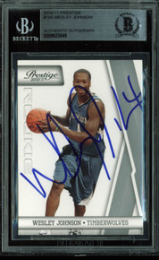 Timberwolves Wesley Johnson Signed Card 2010 Prestige RC #194 BAS Slabbed