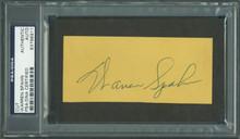 Braves Warren Spahn Authentic Signed 2x4.5 Cut Autograph PSA/DNA Slabbed