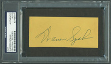 Braves Warren Spahn Authentic Signed 2x4.5 Cut Autograph PSA/DNA Slabbed