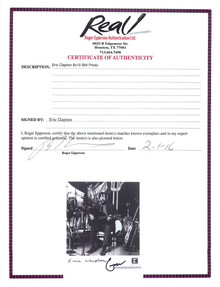 Eric Clapton Authentic Signed 8X10 Photo Autographed w/ Epperson (REAL) COA