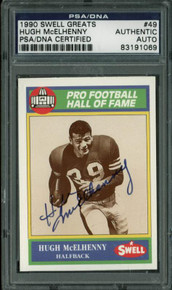 49Ers Hugh Mcelhenny Authentic Signed Card 1990 Swell Greats #49 PSA/DNA Slabbed