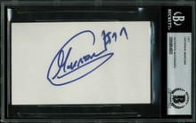 Bullets Gheorghe Muresan Authentic Signed 3x5 Index Card BAS Slabbed