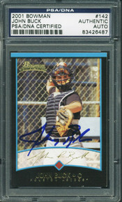 Astros John Buck Authentic Signed Card 2001 Bowman Rookie #142 PSA/DNA Slabbed