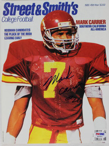Usc Mark Carrier Authentic Signed 1989 Street & Smiths Magazine PSA/DNA #Q12211