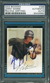 Jonny Gomes Authentic Signed Card 2002 Bowman Rookie #398 PSA/DNA Slabbed