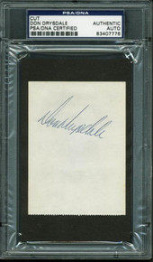 Dodgers Don Drysdale Authentic Signed 2.75X3.75 Cut Autographed PSA/DNA Slabbed